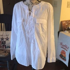 Talbots Cotton Lined Shirt with Tie laced closure